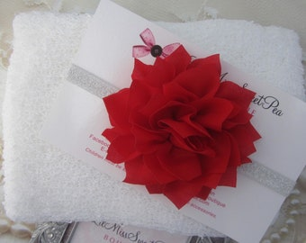 White Stretch Knit Wrap AND/OR Red Poinsettia Headband on silver elastic, bebe foto, Lil Miss Sweet Pea