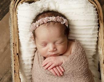 Powder Newborn Baby Swaddle Wrap AND/OR Antique Mauve Flower Halo Headband, newborn photos, baby halo, bebe photo bandeau Lil Miss Sweet Pea
