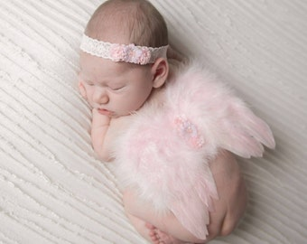 Light Pink Angel Baby Feather Wings and/or Matching Vintage Lace Headband, for a teenie infant, baby photo, by Lil Miss Sweet Pea