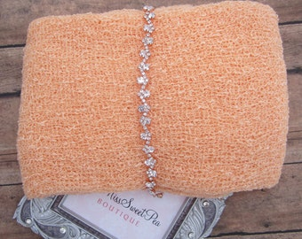 Peach Stretch Knit Swaddle AND/OR Rose Gold Rhinestone Bling Headband for photo shoots, baby girls, newborn photos, by Lil Miss Sweet Pea