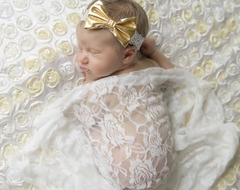 White stretch lace swaddle wrap AND/OR gold fabric bow  headband for newborn photo, photographer, by Lil Miss Sweet Pea