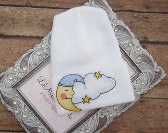 Our NEW fitted top newborn hospital hat, moon and clouds, latex free, take home outfit, baby beenie, by Lil Miss Sweet Pea