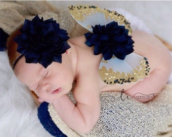 ON SALE - Butterfly wings, Navy and GOLD wings And / Or headband, newborn photos, photo prop, Cinderella, baby prop, by Lil Miss Sweet Pea