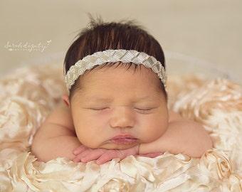 Newborn Beaded Headband -  for newborns for photo shoots, baby headband, photo prop, newborn photos, infant headband, photographer, infant