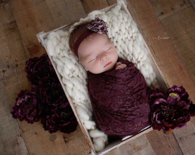 "Featured listing image: Plum Stretch Lace Swaddle Wrap AND/OR Matching 2"" Flower Headband, newborn photo, baby swaddle blanket, lace wrap by Lil Miss Sweet Pea"