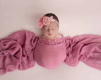 Newborn Muslin Swaddle in Rose Pink AND/OR Flower headband, photoshoot, bebe, baby bling, bandeau bebe, Lil Miss Sweet Pea