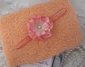 Peach Knit Wrap AND/OR Matching Peach Flower Headband, photo shoots, newborn swaddle wrap, bebe foto, Lil Miss Sweet Pea