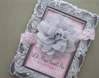 SALE only 5 dollars! Lace headband with a 4 inch petal flower by Lil Miss Sweet Pea Boutique