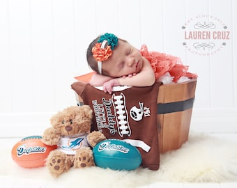 Miami Dolphin Colors Headband, AND / OR Swaddle Wraps sports fan, Newborn Photos, bebe, football colors by Lil Miss Sweet Pea 11/21