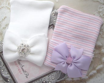 GIFT SET - Newborn or Baby Shower Gift - Two Newborn Hospital Hats, matching bows, coming home outfit, Lil Miss Sweet Pea