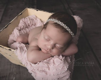 Pearl Hand Beaded Headband - perfect for newborns for photo shoots, pearl headband, Christening, Baptism, bebe, foto by Lil Miss Sweet Pea