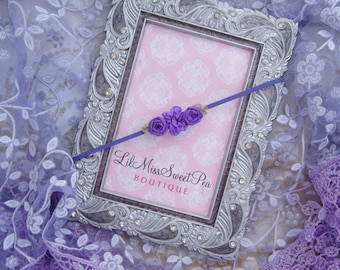 Lace Fringe Wrap in Lavender AND/OR Purple Ribbon Flower headband, newborn photo shoots, newborn wrap set, by Lil Miss Sweet Pea