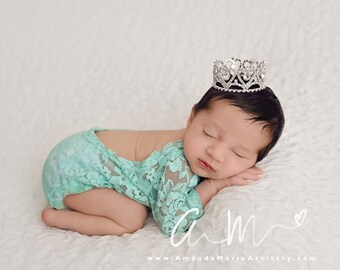 Mint Lace Romper for Newborns AND/OR Silver Rhinestone Hearts Baby Crown, newborn, maternity, baby crown, tiara, bebe by Lil Miss Sweet Pea