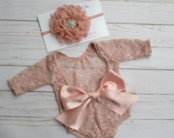 Dusty Rose Lace Romper, Stretch lace, w/sleeves, unlined, AND/OR matching 4 inch floral headband, newborn set, bebe foto, Lil Miss Sweet Pea