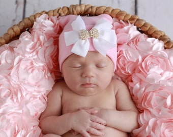 Pink Hospital Hat with a White Grosgrain Bow Adorned with a Pearl Bow Button, newborn baby hat, Lil Miss Sweet Pea Boutique