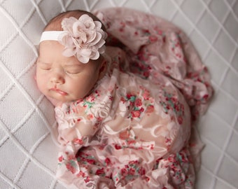 "Shades of Pink stretch swaddle AND/OR 3"" Chiffon Flower Headbands, bandeau, newborn photographer, by Lil Miss Sweet Pea"