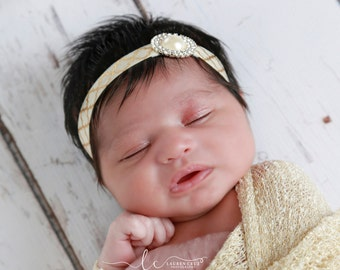 Gold and Ivory Rhinestone and Pearl Headband for newborns for photo shoots, bebe, foto, rhinestone baby headband by Lil Miss Sweet Pea