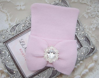 Baby Pink Newborn Hospital Hat with pink fabric bow & vintage rhinestone center, double ply, baby hat, Lil Miss Sweet Pea Boutique