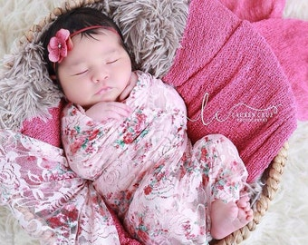 Shades of pink print stretch lace or solid pink swaddle AND/OR hydrangea headband, newborn, stretch lace by Lil Miss Sweet Pea