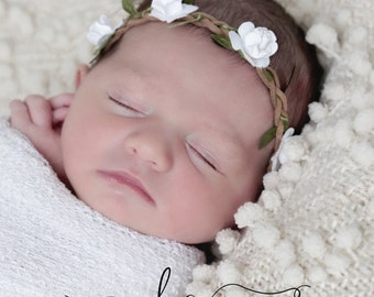 Boho style braided leather halo with white or light pink paper cabbage roses for newborns