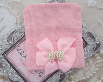 Pink or White Hospital Hat with a grosgrain bow adorned with a pearl bow button, baby hat, Lil Miss Sweet Pea Boutique