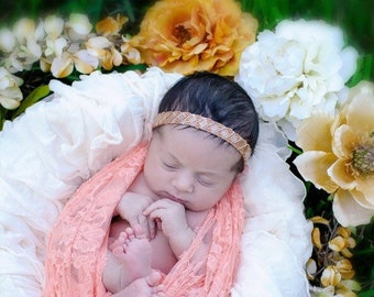 Beaded headband for newborn photo shoots, stretch lace, photographer, bebe, prop by Lil Miss Sweet Pea