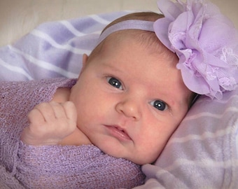 Sorbet Knit Wrap AND/OR Matching Lilac Chiffon and Lace Flower Headband, photo shoots, newborn swaddle wrap, bebe foto, Lil Miss Sweet Pea