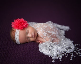 Lace Fringe Wrap in White with Salmon Chiffon and Lace Flower on Lace Headband for newborn photo shoots, by Lil Miss Sweet Pea