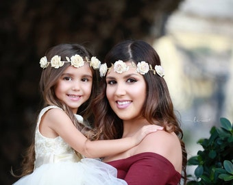 Ivory Mulberry Flower Halo on Gold Leaf Trim, perfect for all ages, bridesmaid, bride, newborn, paper flower halo by Lil Miss Sweet Pea