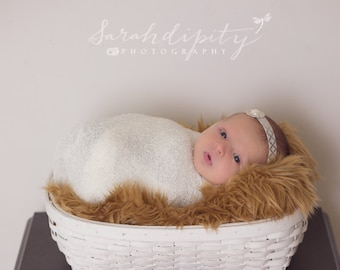 Newborn Baby Wrap in Ivory AND/OR Silver and Ivory/Cream Rhinestone and Pearl Headband, newborns, photo shoots by Lil Miss Sweet Pea 31