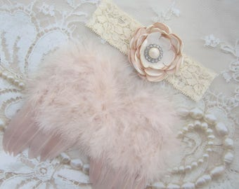 Vintage Blush Angel Baby Feather Wings AND/OR Handmade Layered Satin Flower Lace Headband, Lil Miss Sweet Pea