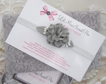 Grey stretch lace swaddle wrap AND/OR silver eladtic and grey flower headband by Lil Miss Sweet Pea
