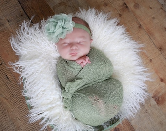 "Sage Green Knit Wrap AND/OR Matching 4"" Sage Chiffon and Lace Flower Headband, photo shoots, newborn swaddle, bebe foto, Lil Miss Sweet Pea"