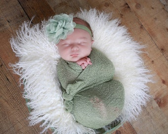 "Sage Green Knit Wrap AND/OR Matching 4"" Sage Chiffon and Lace Flower Headband, photo shoots, newborn swaddle, bebe foto, Lil Miss Sweet Pea"