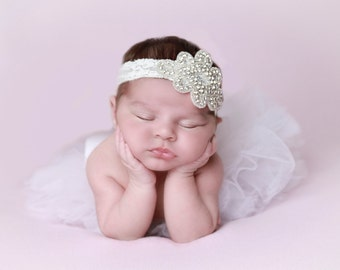Rhinestone Applique Headband on Stretch Lace, Newborn Photo Prop, baby bling, baby, bebe foto, wedding, bride, by Lil Miss Sweet Pea