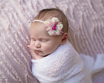 White stretch wrap AND/OR matching  floral headband for newborn photo shoots, knit baby swaddle, by Lil Miss Sweet Pea