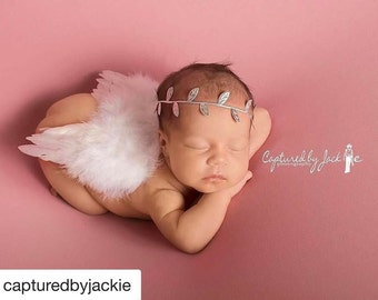 Newborn White Angel Feather Wings AND/OR Foil Leaf Headband for newborn photos, bebe foto, Lil Miss Sweet Pea