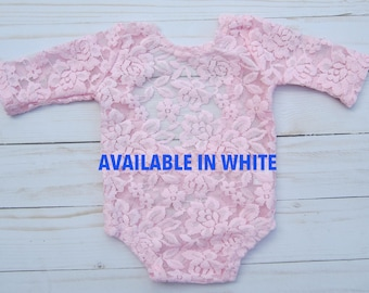 Newborn Lace Romper in white or pink AND/OR Silver Rhinestone Headband, low back style, photoshoot, bebe foto, by Lil Miss Sweet Pea