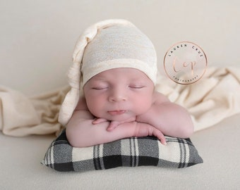 Newborn pillow AND/OR coordinating sleepy hat for photos, boy hat, baby pillow prop, Lil Miss Sweet Pea Boutique