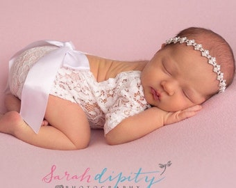 Newborn Lace Romper (unlined) with baby pink ribbon bow, or no bow, AND/OR rhinestone & pearl headband, photoshoot, bebe, Lil Miss Sweet Pea