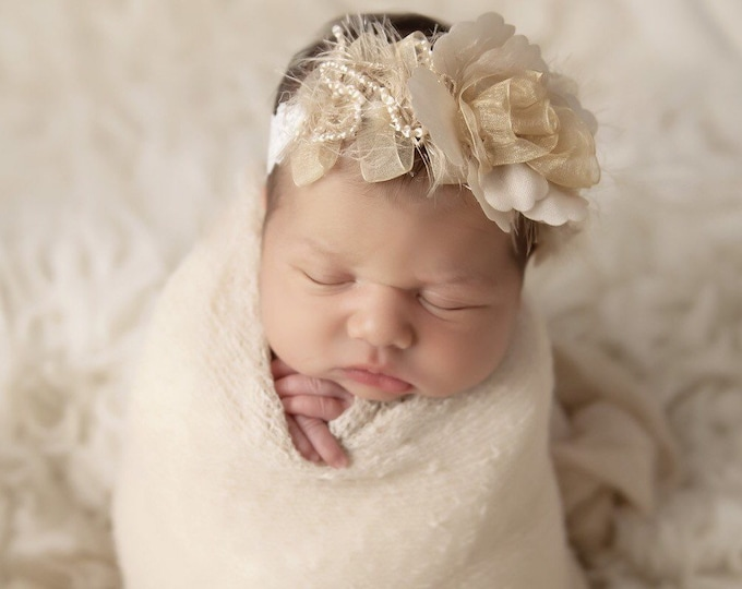 Featured listing image: Tan swaddle wrap AND/OR matching gold ribbon flower stretch lace headband for newborn photo shoots, handmade, bebe foto, Lil Miss Sweet Pea