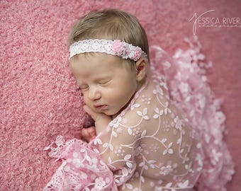 Pink Lace Fringe Wrap and Ribbon Flower headband, newborn photo shoots, newborn wrap set, by Lil Miss Sweet Pea