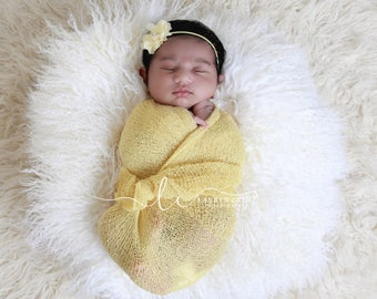 Yellow Sunshine Knit Wrap AND / OR Matching Flower Headband, newborn swaddle, photographer by Lil Miss Sweet Pea