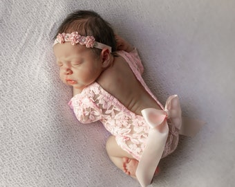 Newborn Lace Romper in Pink or White AND/OR Vintage Rose Ribbon Flower Headband, low back, photoshoot, bebe foto, Lil Miss Sweet Pea