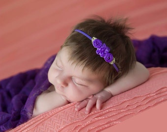 Purple ribbon flower headband for newborn photo shoots, tiny flowers, bebe, bandeau, by Lil Miss Sweet Pea