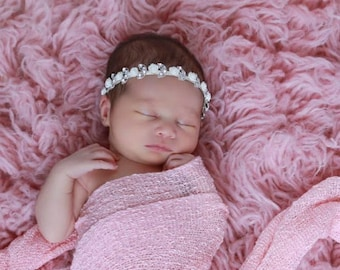 Baby Pink Knit Wrap AND/OR Matching Rhinestones and Roses Headband set for photo shoots, girly pink, order separately, Lil Miss Sweet Pea 43