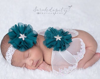 Butterfly wings, white and teal baby wings and/or matching headband for newborn photos, baby girl, Lil Miss Sweet Pea