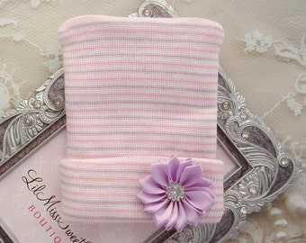 Newborn Hospital Hat, lavender, pink and white stripes with a lavender ribbon flower, baby hat, newborn hat, Lil Miss Sweet Pea Boutique