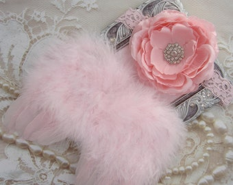 Pink Angel Baby Wings AND/OR Matching Ranunculus Flower Lace Headband photos, photographer, baby girls by Lil Miss Sweet Pea Boutique