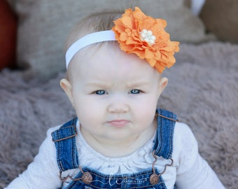 Orange Peony and Pearls Headband for all ages, four inch flower, adorable for fall newborn photo shoots, by Lil Miss Sweet Pea Boutique